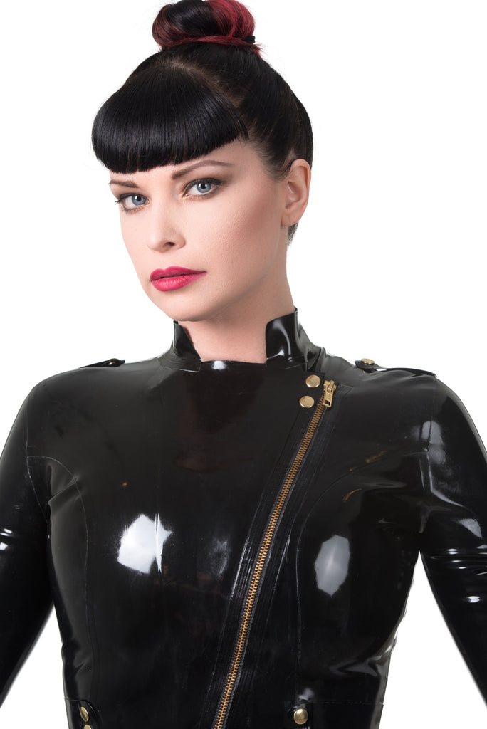 Long Fringe Latex Moto Jacket