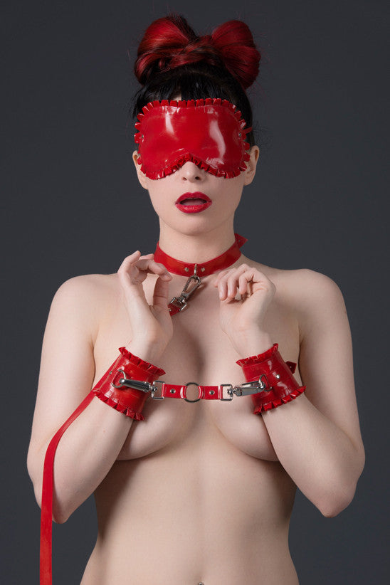 Latex Ruffled Wrist Cuffs with D-rings and Connecting Clip