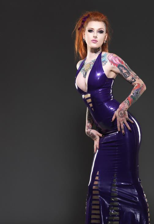 Trans Panel Striped Latex Gown