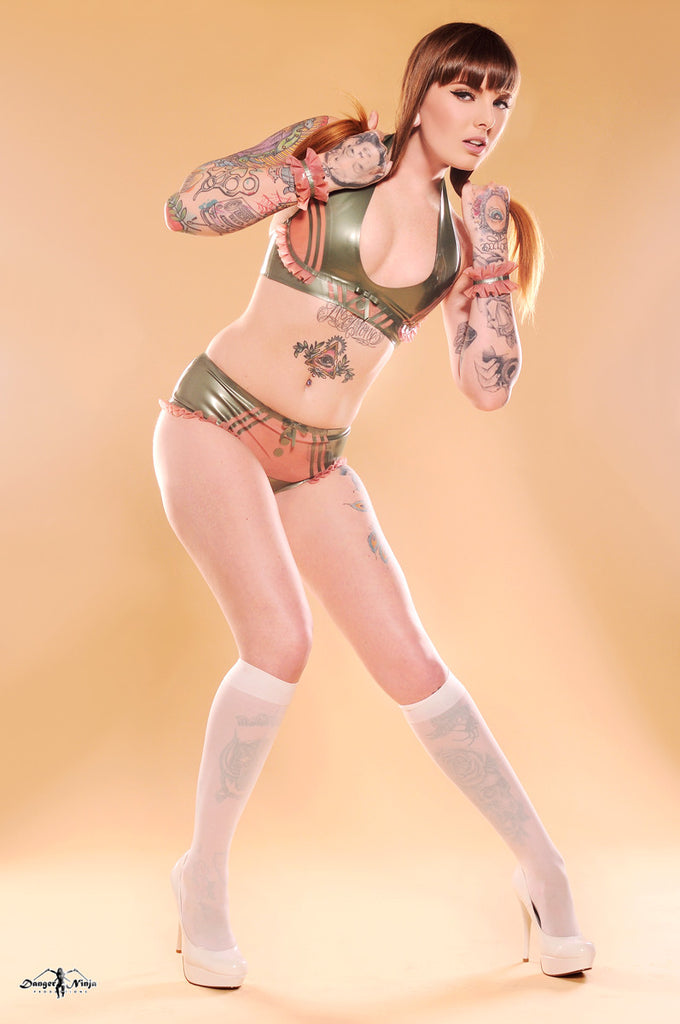 Vintage Thrills Latex Lingerie Set