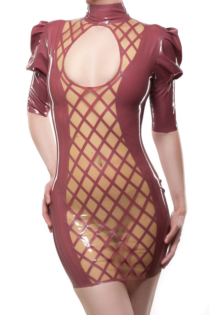Crosshatch Latex Dress with Large Keyhole Opening