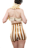 High Waisted Striped Latex Carnival Shorts