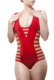 Striped V-Neck Latex Bodysuit