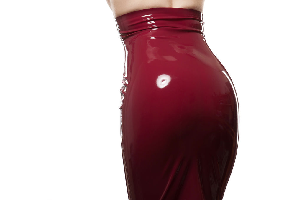 High Waisted Latex Pencil Skirt