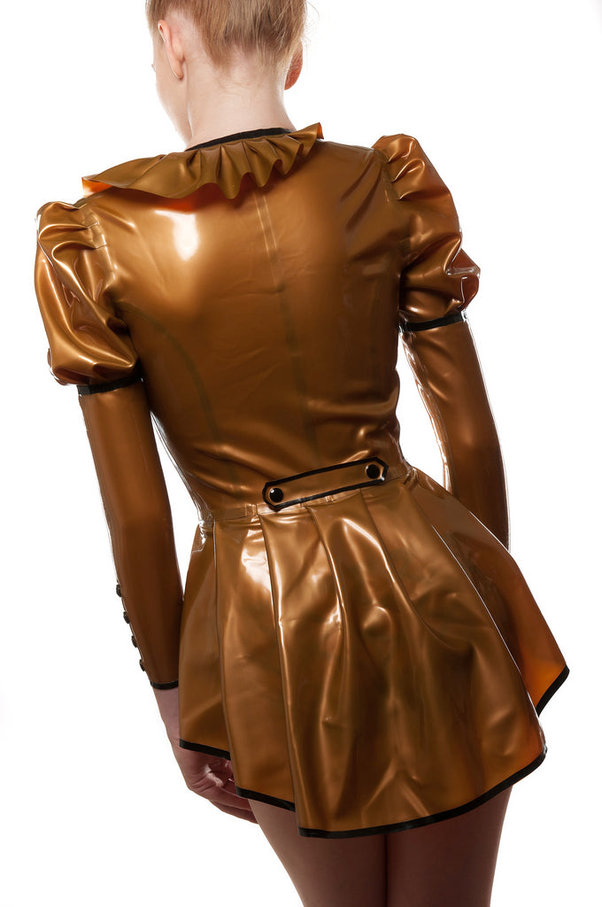 Asymmetrical Pleated Latex Tailcoat