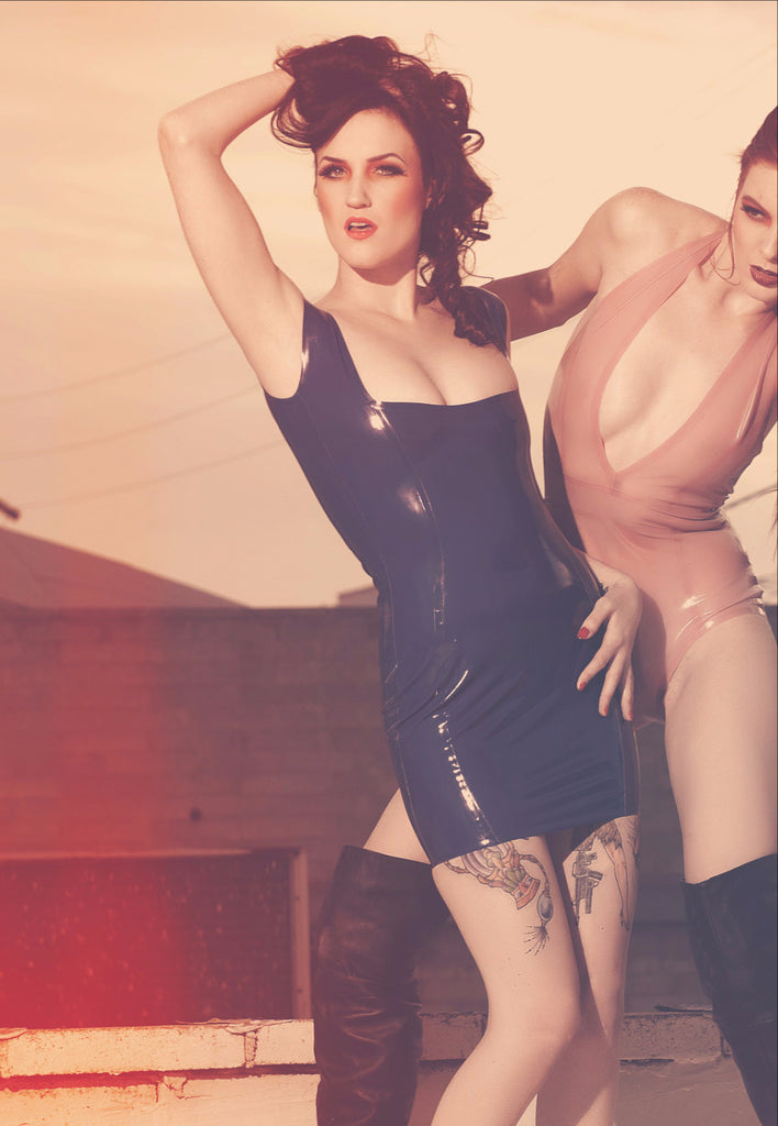Square Neck Latex Tank Dress
