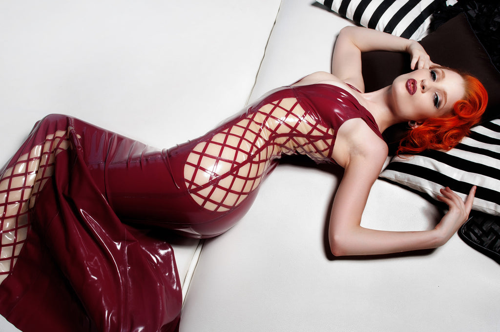 Crosshatch Latex Gown