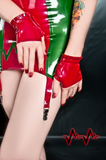 Ruffled Fingerless Latex Gloves