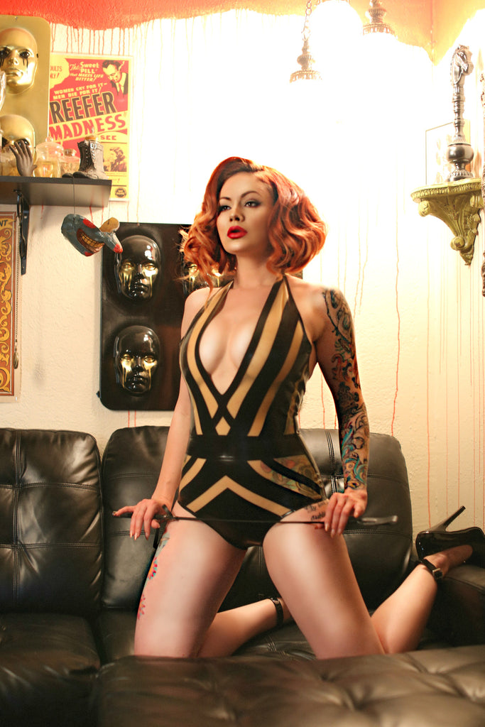 Interlaced Latex Bodysuit