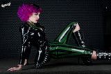 High Waisted Striped Latex Capri Leggings
