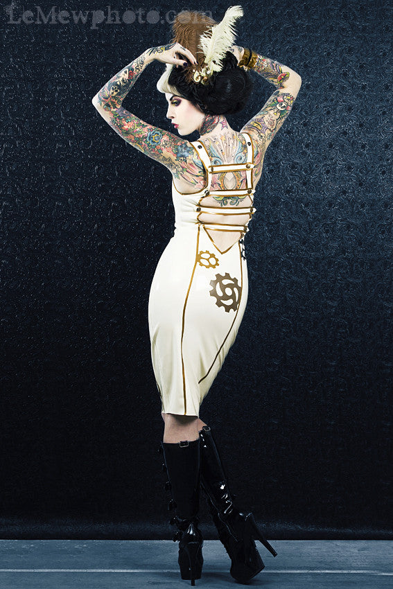 Geared Up Latex Pencil Dress