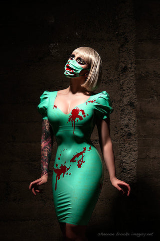 Blood Splattered Latex Nurse Dress