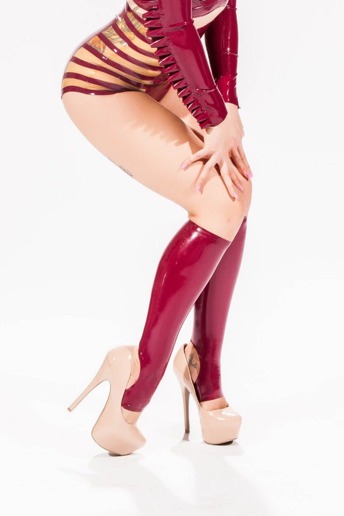 Knee High Latex Stirrup Socks