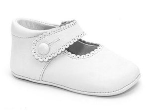Patucos Infant Classic soft Leather White Shoes for Girls