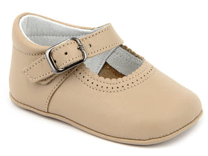Patucos Soft Leather Mary Janes Camel Shoes for Girls
