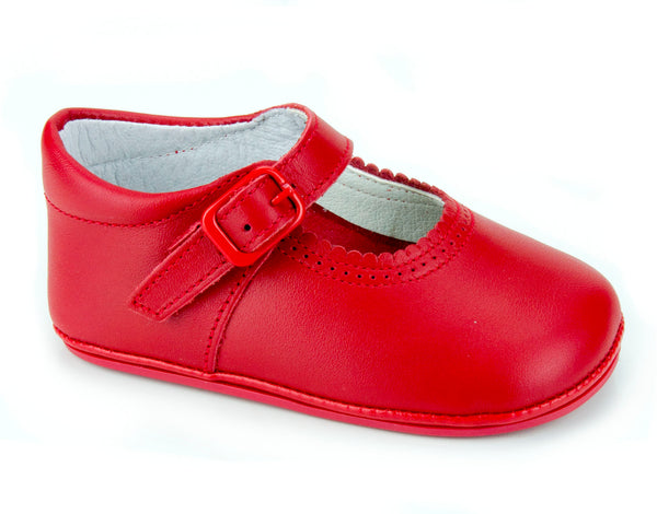 Patucos Soft Leather Mary Janes Red Shoes for girls