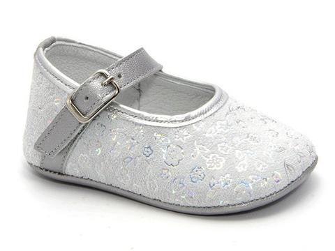 Patucos Infant Classic Silver Grey Leather Shoes for Girls