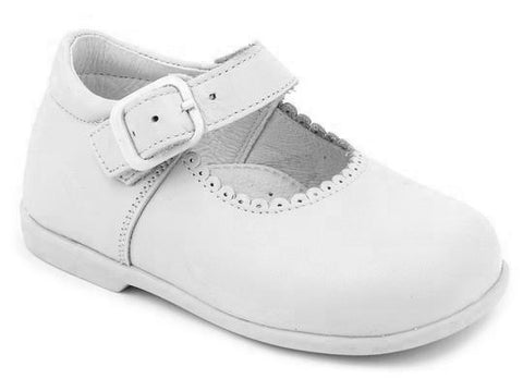 Patucos Classic Leather Mary Jane White Shoes for Girls