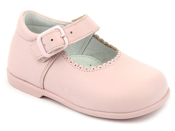 Patucos Infant Pink Shoes scallop Edges for Girls
