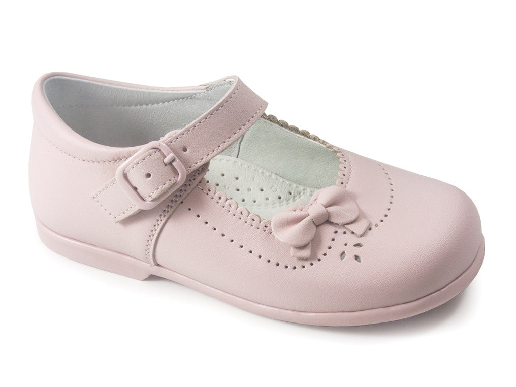 Patucos Classic Leather Mary Jane Pink Shoes for Girls