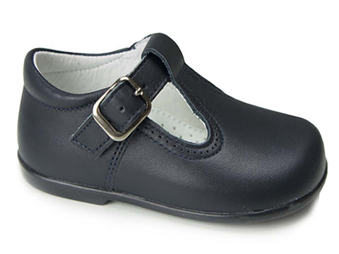 Classic Leather T-Strap Mary Janes unisex for Boys and Girls Navy by Patucos