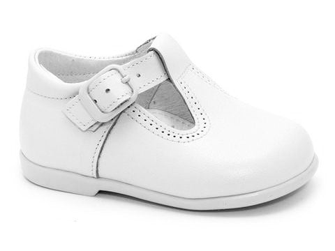 Classic Leather T-Strap Mary Janes unisex for Boys and Girls White by Patucos
