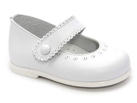 Classic White Leather Mary Janes Shoes for Girls Patucos Shoes Baby and Infants