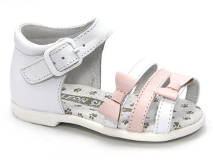 Patucos Girls' Baby & Toddler White/Pink Sandals