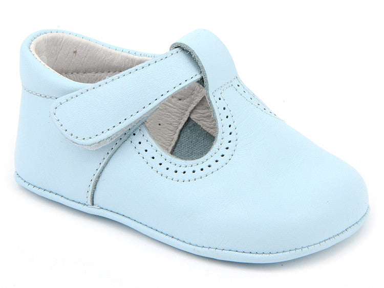 Classic Light Blue leather T-Strap Mary Janes unisex with easy open
