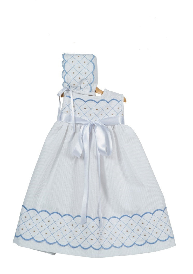 Baptism Gown 2 pieces- White Cotton with Light Blue embroider details