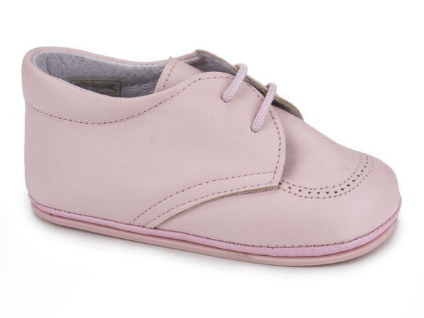 Classic Soft Leather Booties for Girls Pink by Patucos