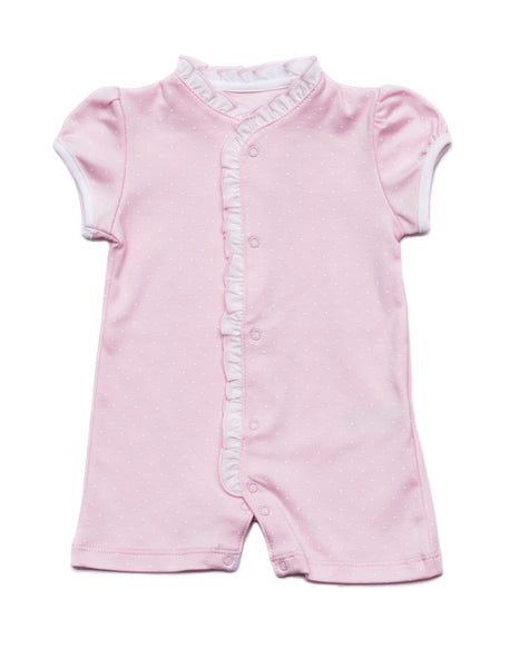 Cotton Pink Romper with white dots Pima Cotton