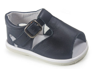 Casual Sandals Navy Blue Leather Patucos Shoes for Boys and Girls