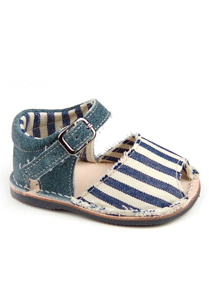 Casual Sandals Stripes Navy Blue Boys Leather Shoes for baby and infant