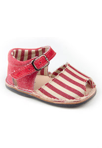 Casual Sandals Stripes Red Boys Leather Shoes for baby and infant