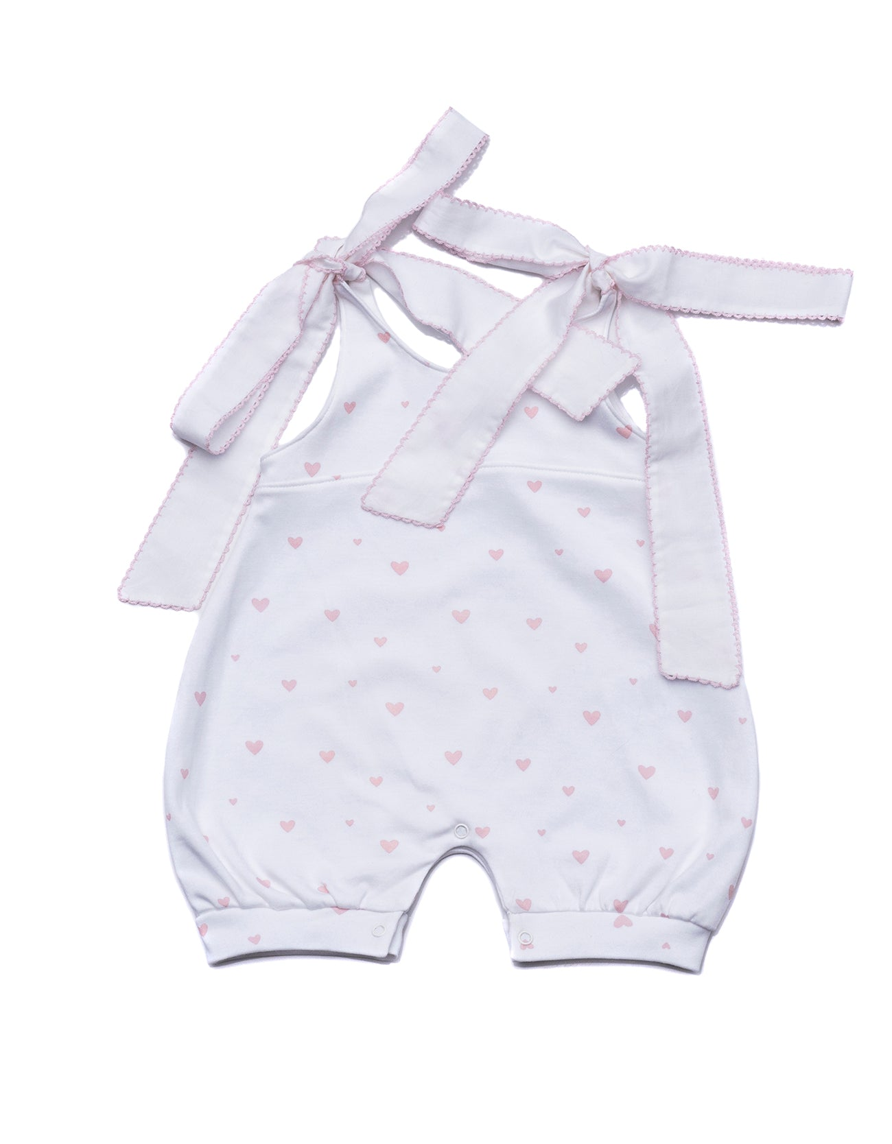 Baby Romper Pink Hearts Pima Cotton