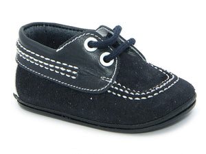 Classic Soft Leather Booties Unisex for Boys Navy and White by Patucos