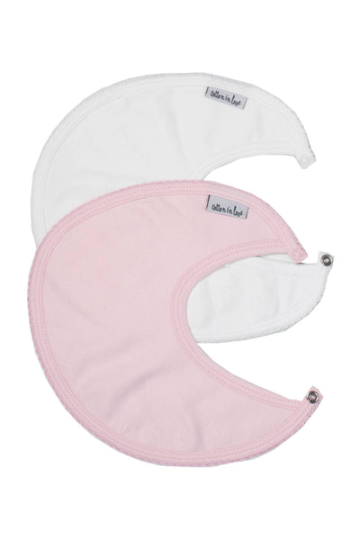Bib Pink and White Plain Pima Cotton Set