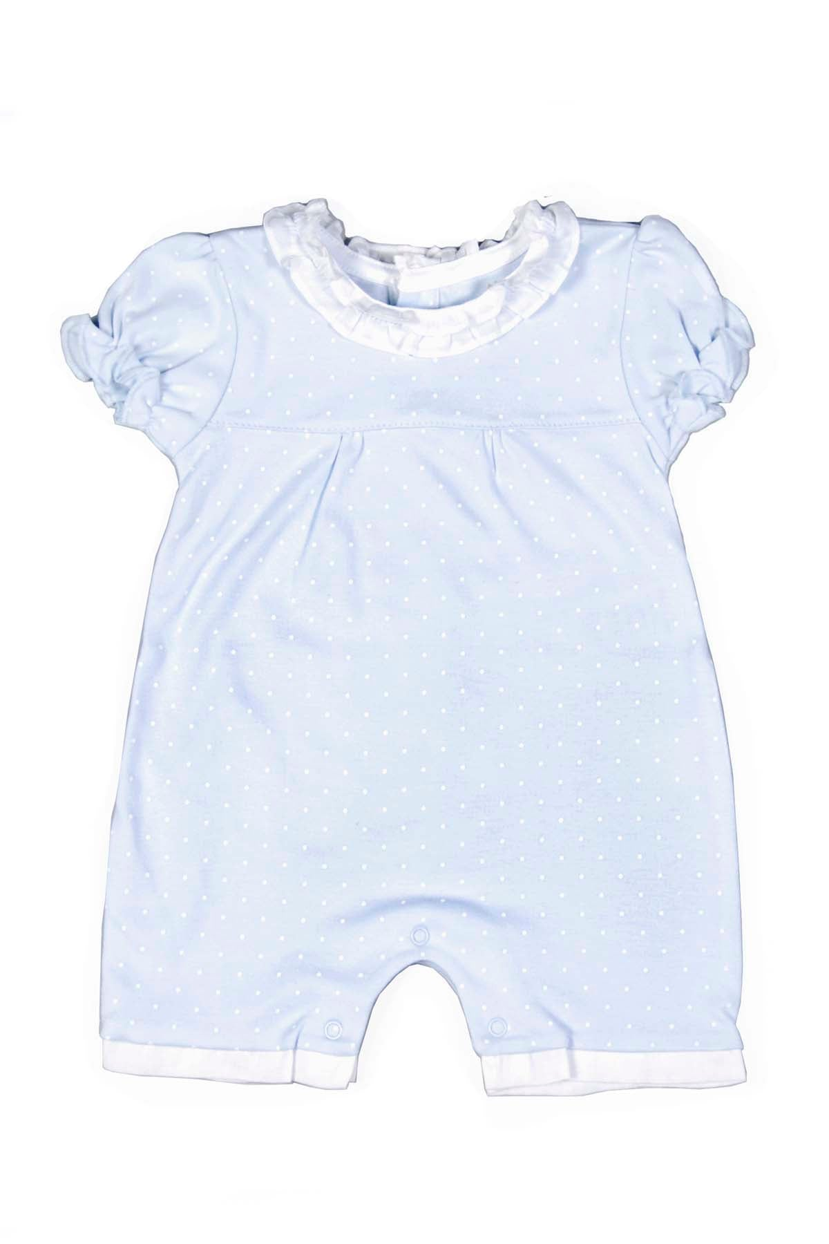 Pima Cotton Light Blue Romper with white dots