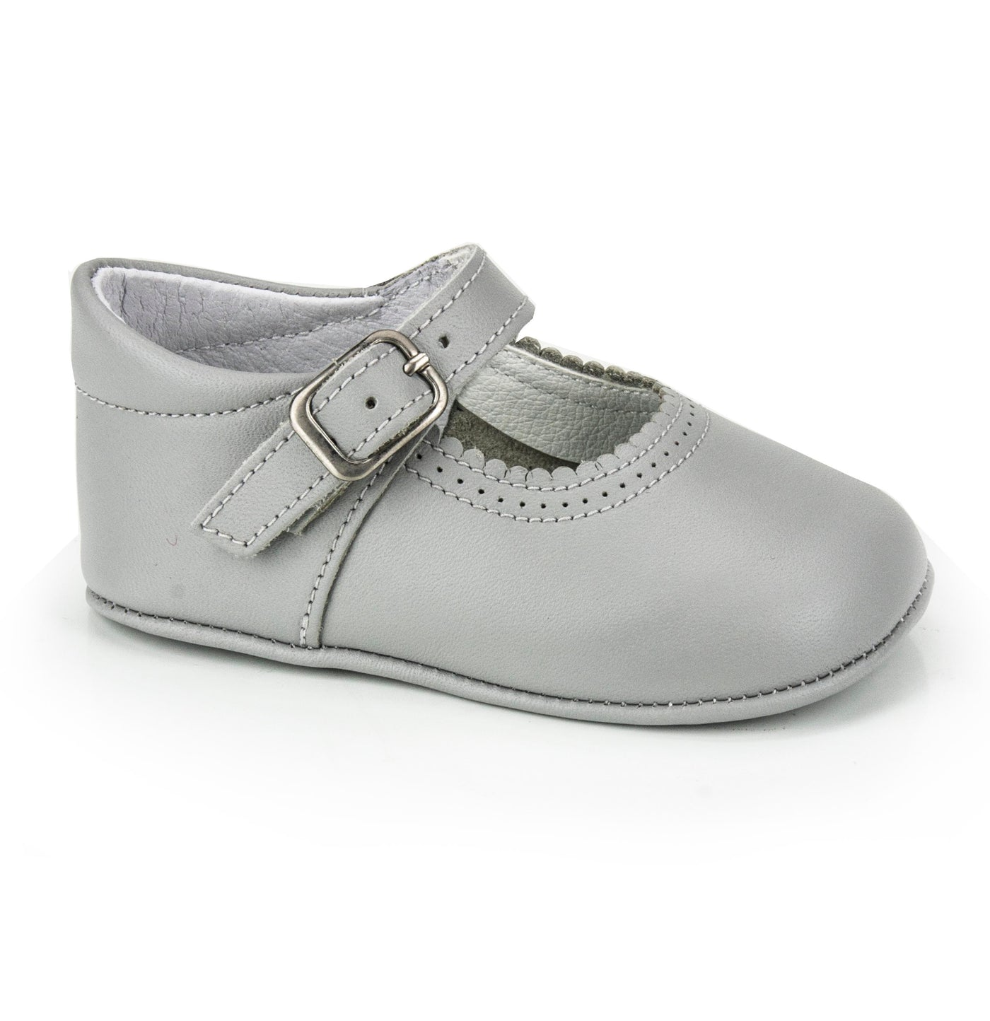 Patucos Soft Leather Mary Janes Grey Shoes for girls