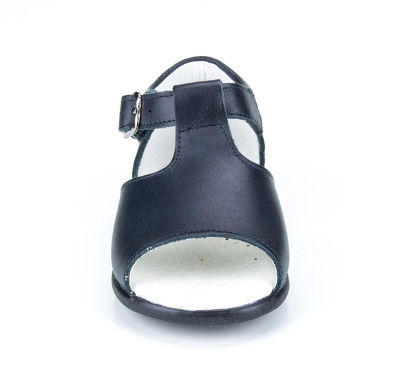 Casual Leather Patucos T-Strap Sandals for Girls and Boys Navy by Patucos