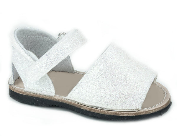 Casual Sandals Sparkling White for Girls Leather Patucos Shoes