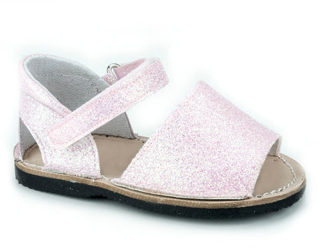 Casual Sandals Sparkling Pink for Girls Leather Patucos Shoes