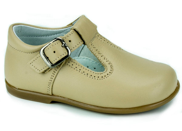 Classic Leather T-Strap Mary Janes Camel unisex for Boys and Girls by Patucos