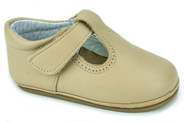 Classic Leather T-Strap Mary Janes Easy Open unisex for Boys and Girls Camel by Patucos