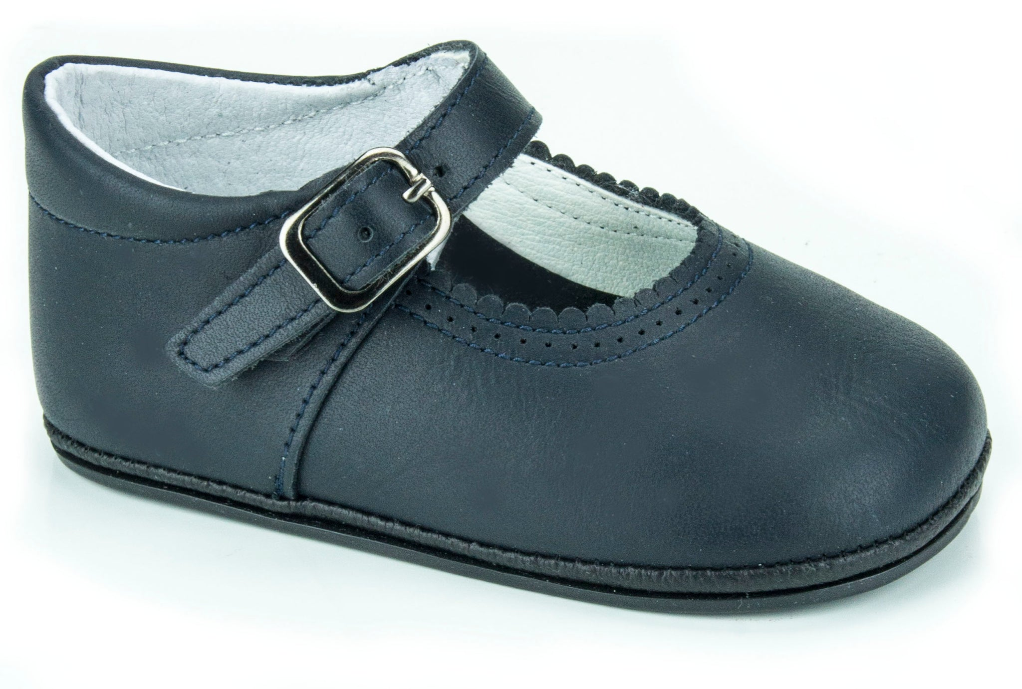 Patucos Soft Leather Mary Janes Navy Shoes for girls