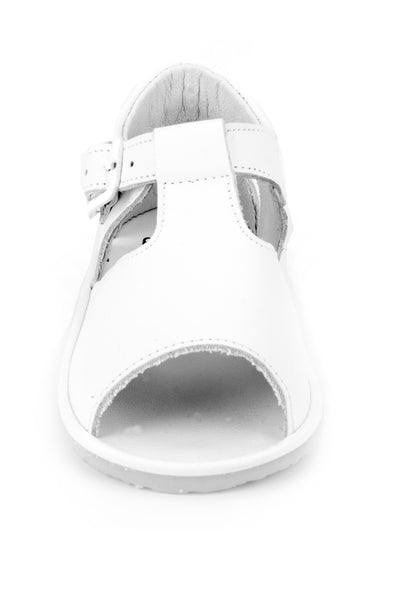 Casual Leather Patucos T-Strap Sandals for Girls and Boys White unisex