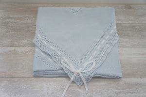 Cotton Blue Receiving Newborn Blanket Knit Extra Soft by Patucos