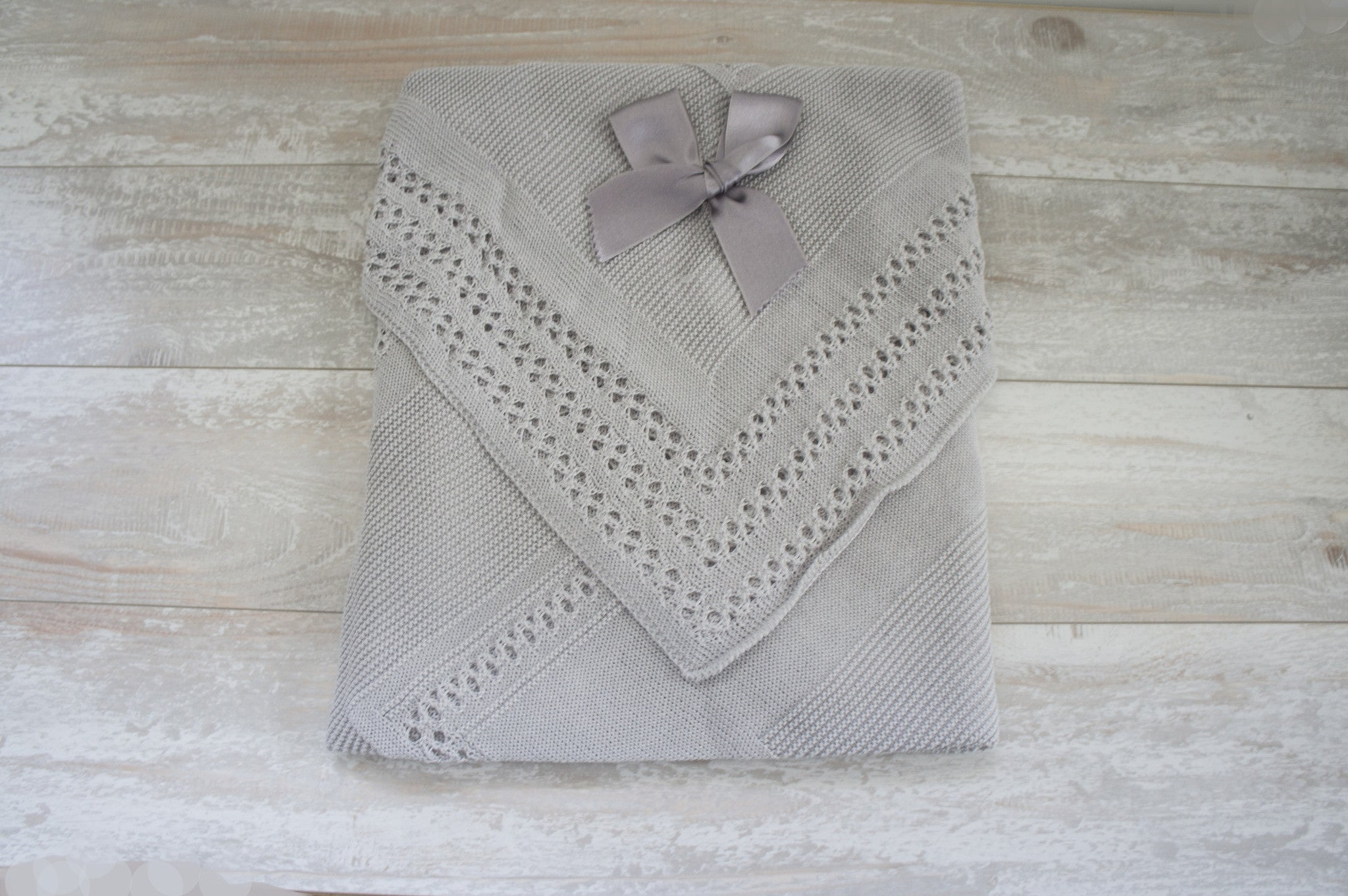 Soft and Cozy Newborn Knitted Receiving Blanket Unisex Grey
