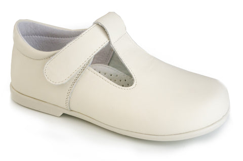 Classic Beige leather T-Strap Mary Janes unisex shoes with easy open
